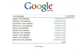 crisis in pakistan as identified by google