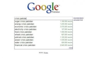 crisis in pakistan as identified by google